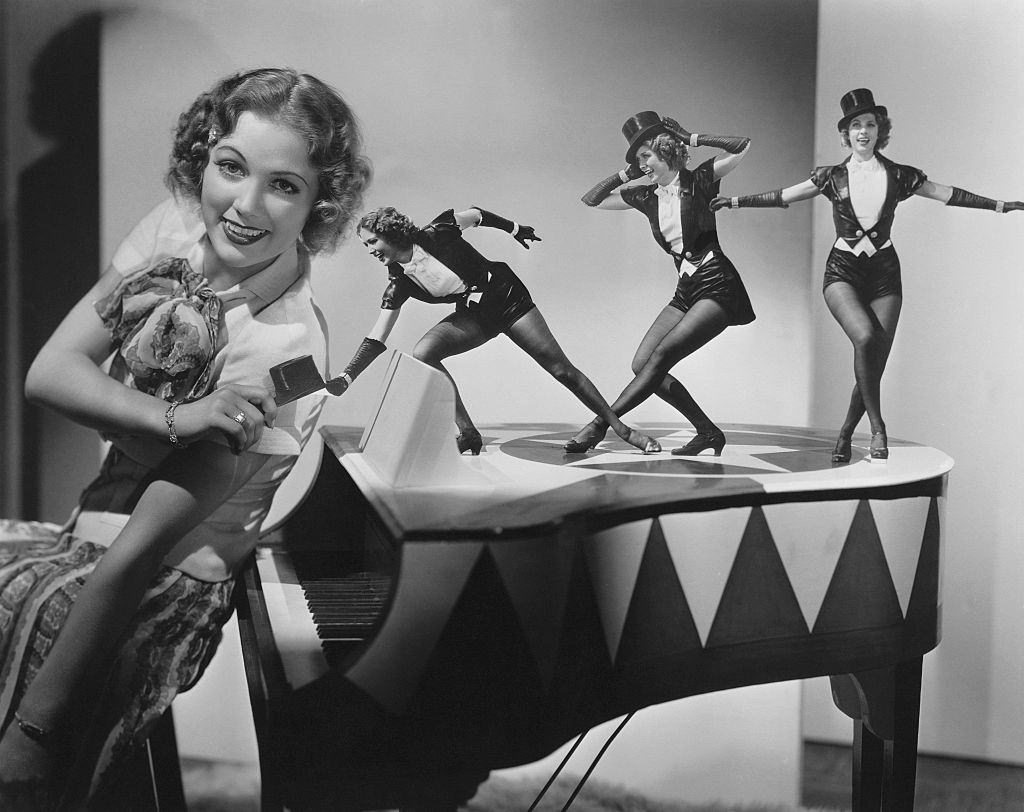 Eleanor Powell thinks of new tap dance moves for the 1936 film Born to Dance, 1936.
