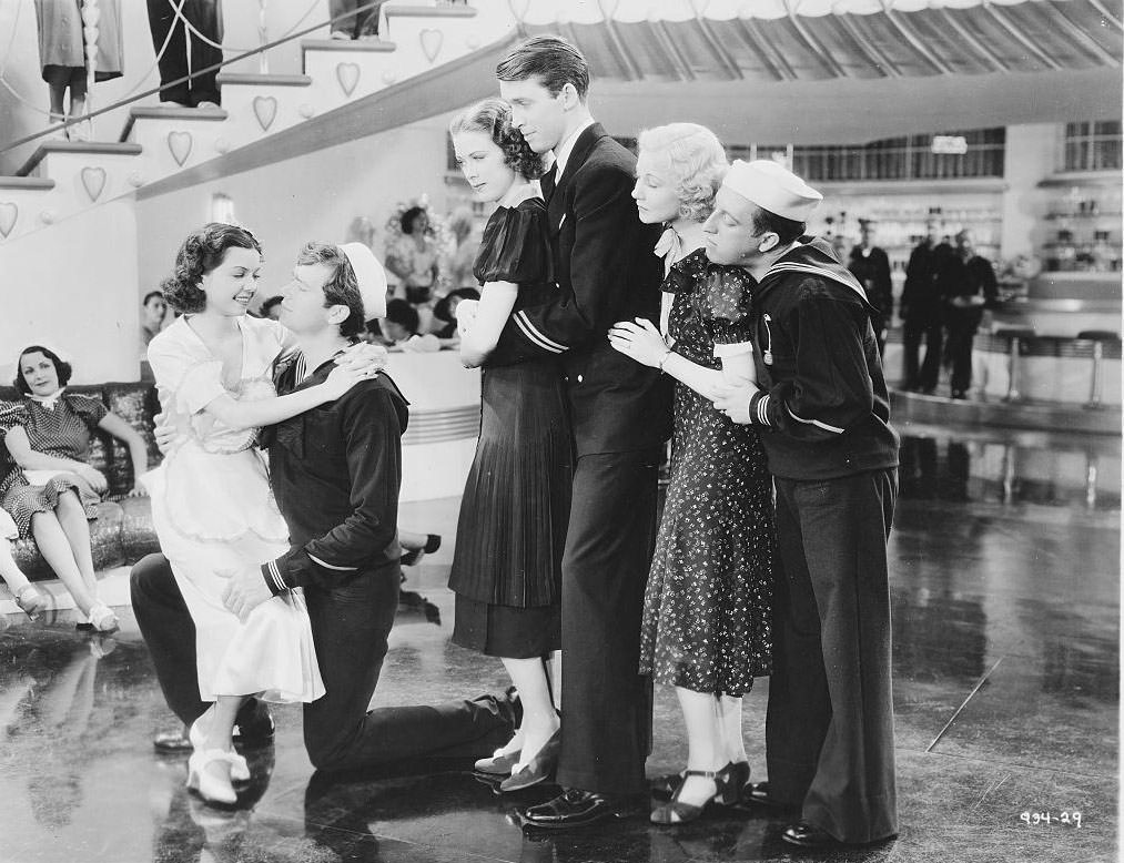 Eleanor Powell with the cast of 'Born to Dance', 1936.