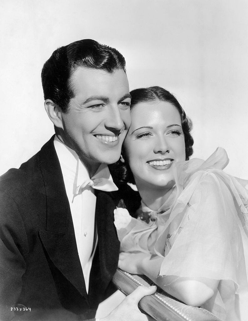 Eleanor Powell with Robert Taylor in the movie 'Broadway Melody of 1936'.