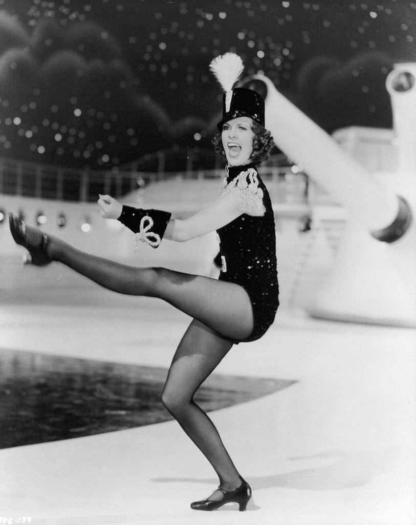 Eleanor Powell kicks her leg in a scene from the film 'Born To Dance', 1936.