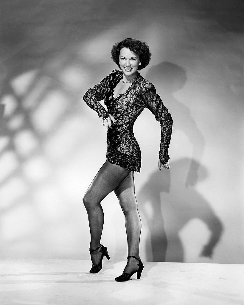 Eleanor Powell in a black lace top, 1940.