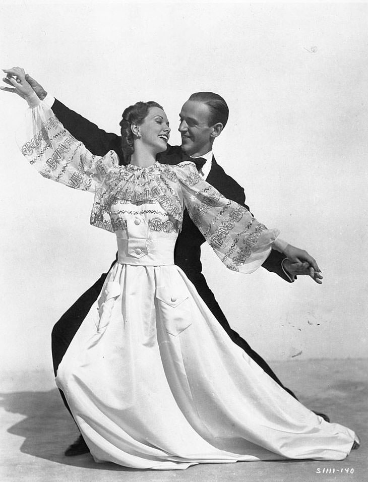 Eleanor Powell and Fred Astaire dance in a scene from the film 'Broadway Melody Of 1940'