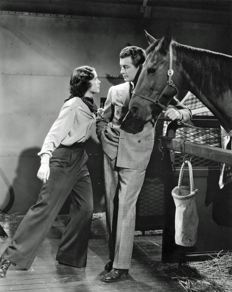 Eleanor Powell and Robert Taylor in a scene from the movie 'Broadway Melody of 1938'.