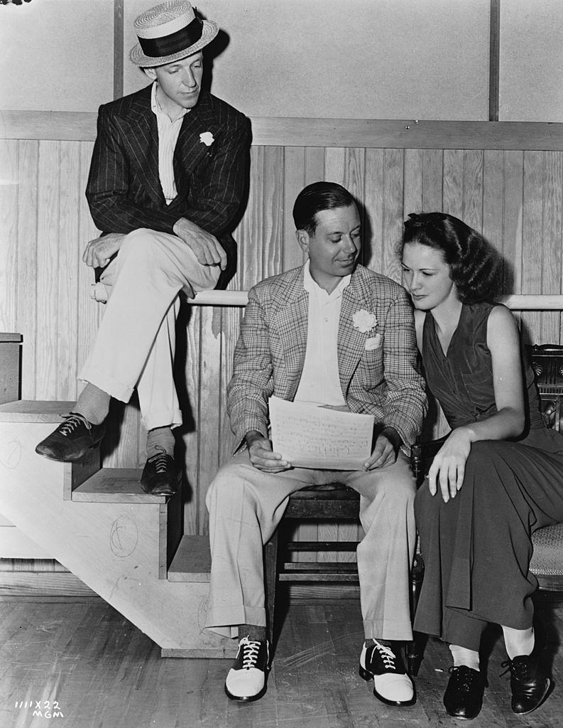 Eleanor Powell with composer Cole Porter and dancer Fred Astaire, 1939.