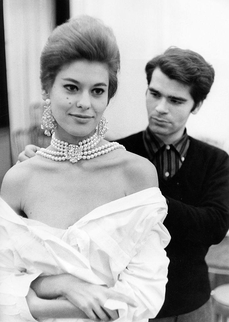 Karl Lagerfeld with a model, 1960s