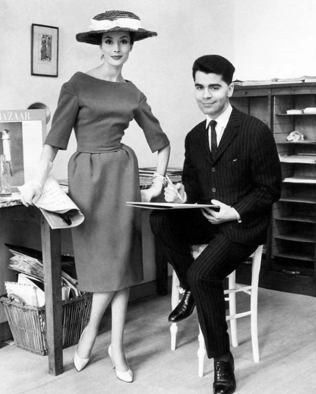 Karl Lagerfeld with a model, 1960s.