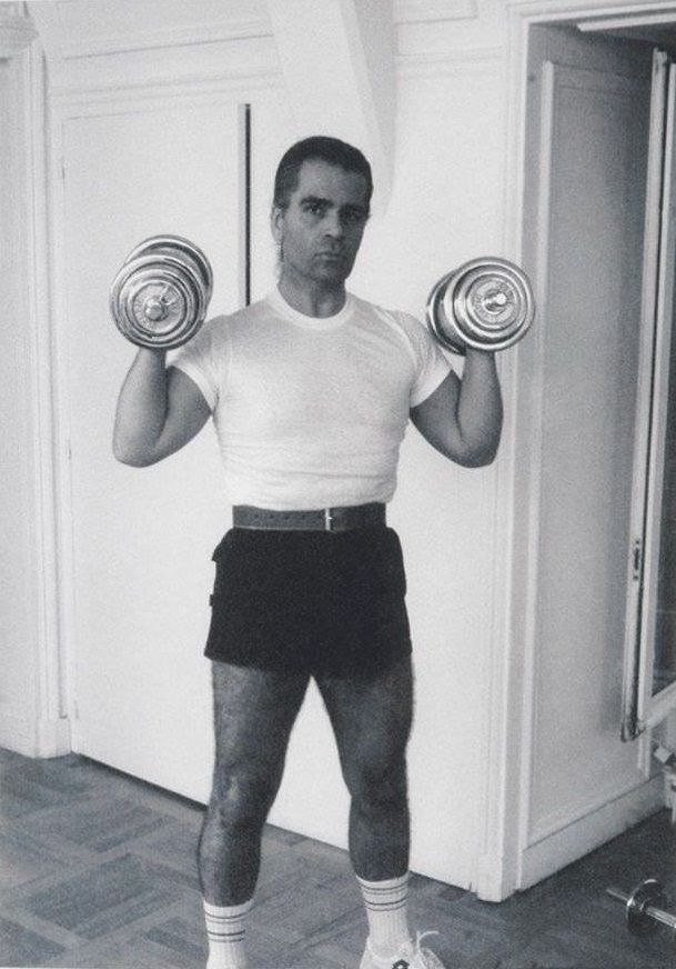 Karl Lagerfeld with weights, 1950s.
