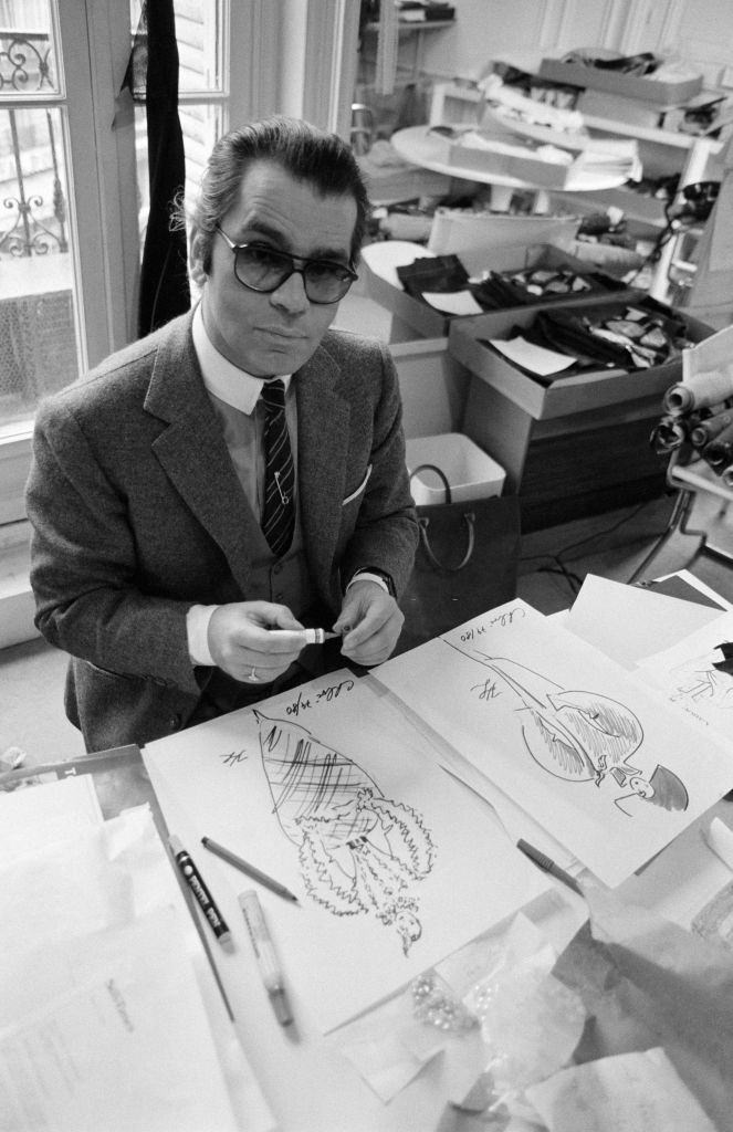 Karl Lagerfeld, artistic director of the Maison Chloé on April 2, 1979