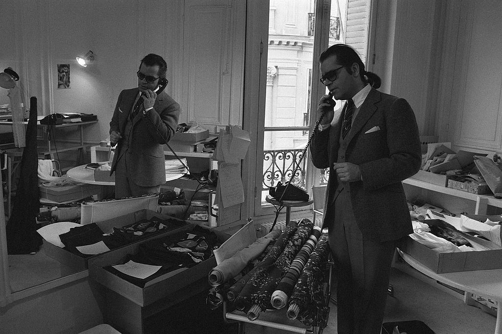 Karl Lagerfeld on the phone, 1979.