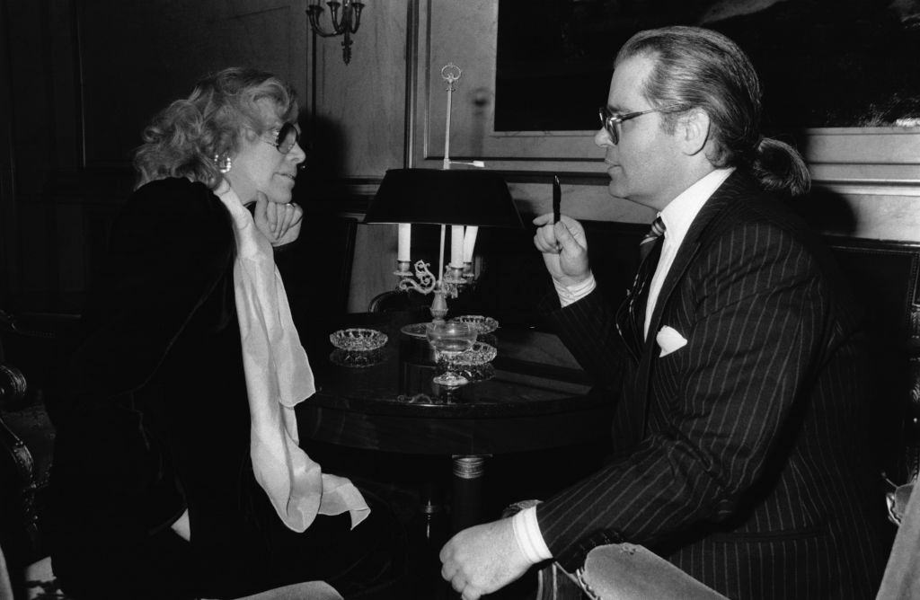 Actress Hildegard Knef and Karl Lagerfeld at the German Embassy on December 1, 1982.