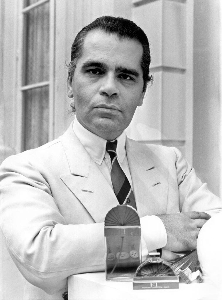 """Karl Lagerfeld at the presentation of his latest fragrance creation """"KL"""", 1982."""