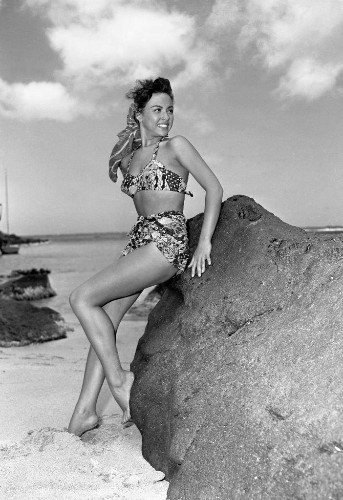 Rita Moreno wins near the beach, 1951.