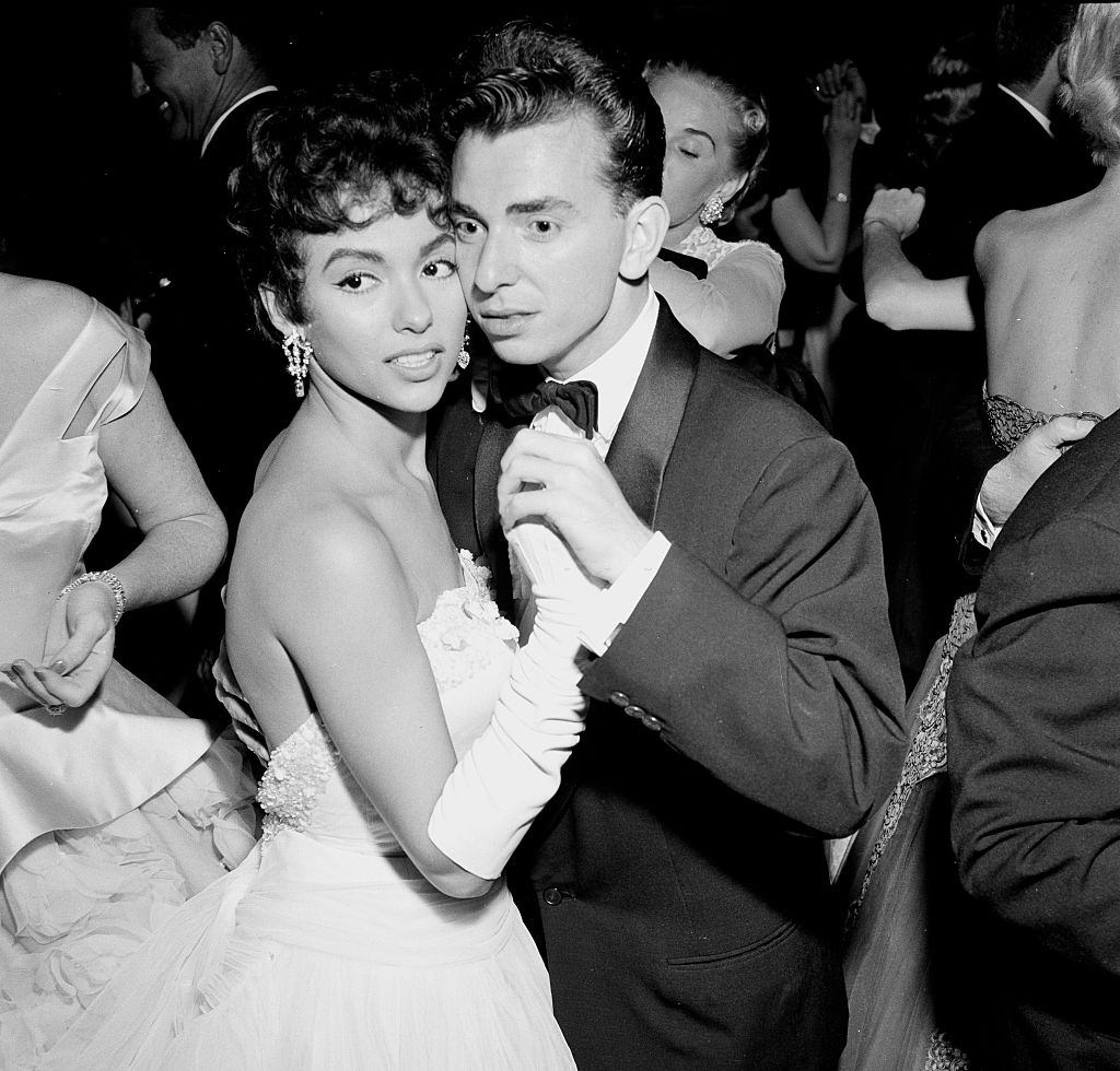 Rita Moreno and Gene Nash attend a party in Los Angeles, 1955.