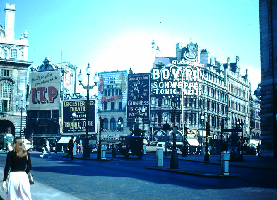 Piccadilly Circus, London, 1949.