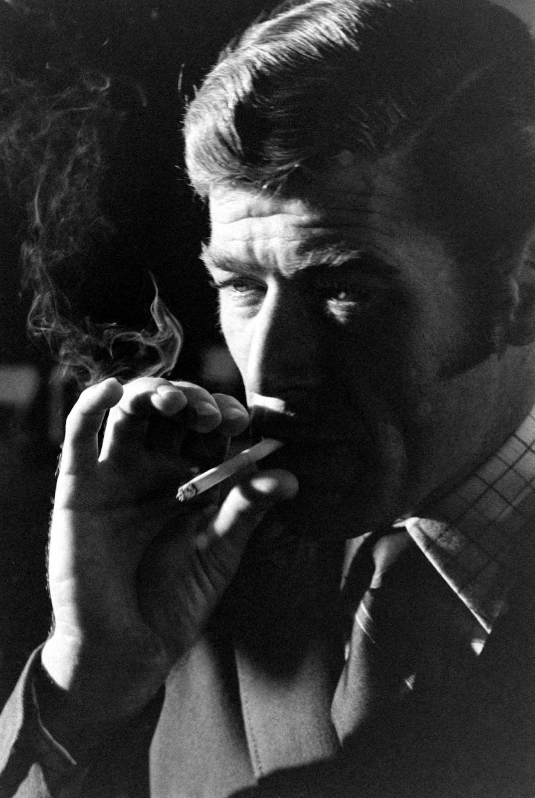 Anthony Rogers smokes a cigarette during his James Bond audition, 1967.