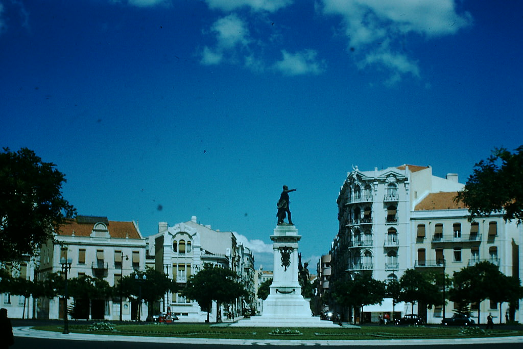 Typical Square and Apartments, Lisbon, 1950s.