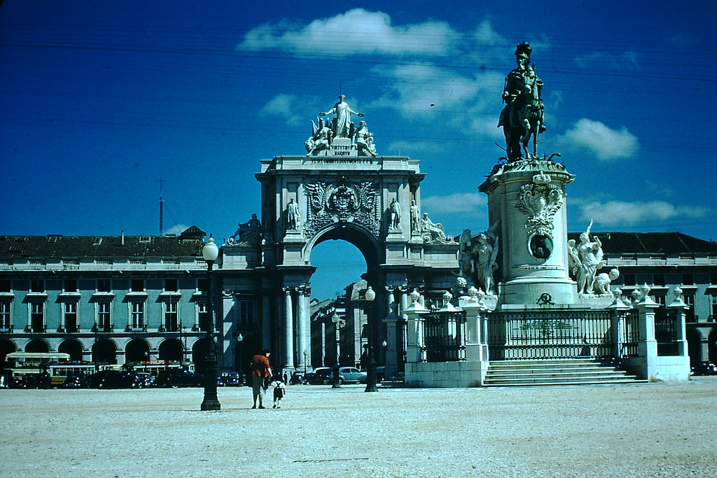 Arch in Old Sq on Waterfront, Lisbon, 1950s.