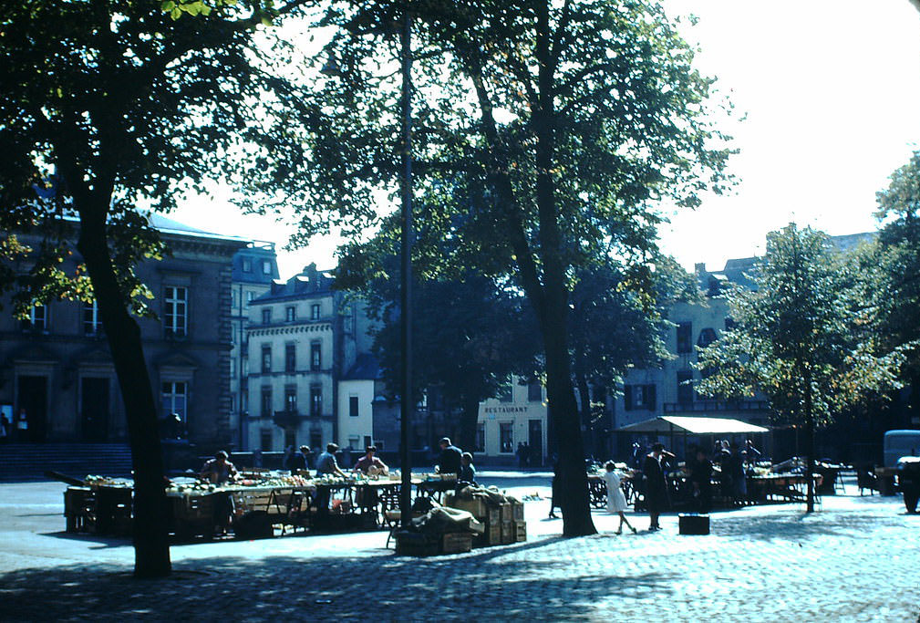 Place Guillaume- Veg Market, Luxembourg, 1949.