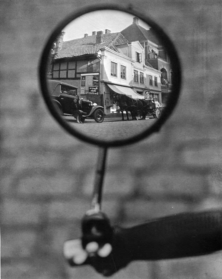 Reflection in a motorcycle mirror, Berlin, c. 1929