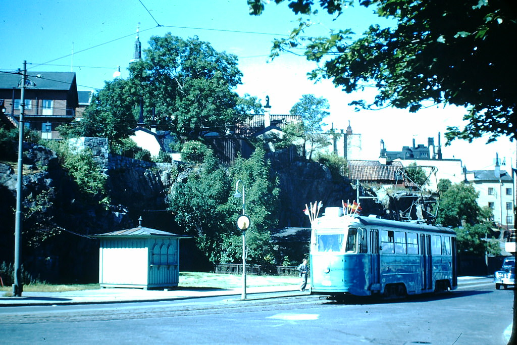 Street Car w Flags from Lingiad in Stockholm, Sweden, 1949.