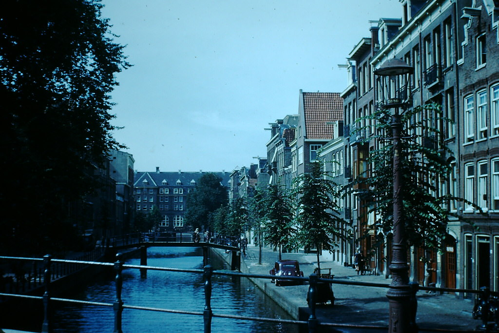 Canal Bridges in Amsterdam, the Netherlands, 1940s.