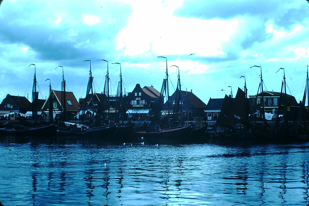 Fishing Boats in Volendam, the Netherlands, 1940s.