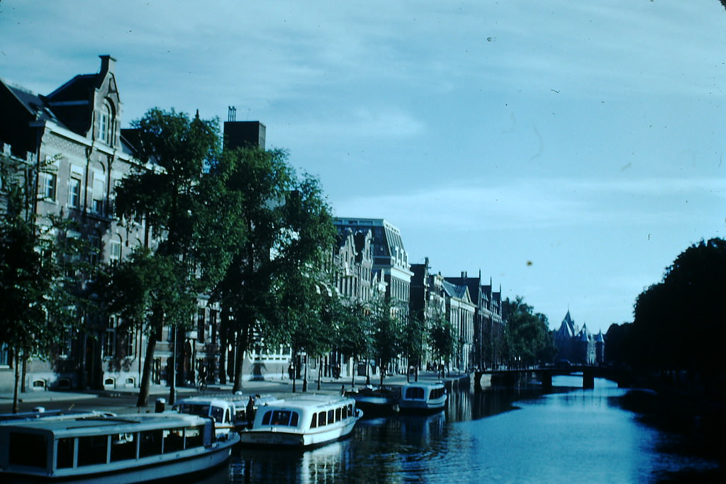 Excursion Boats in Amsterdam, the Netherlands, 1940s.