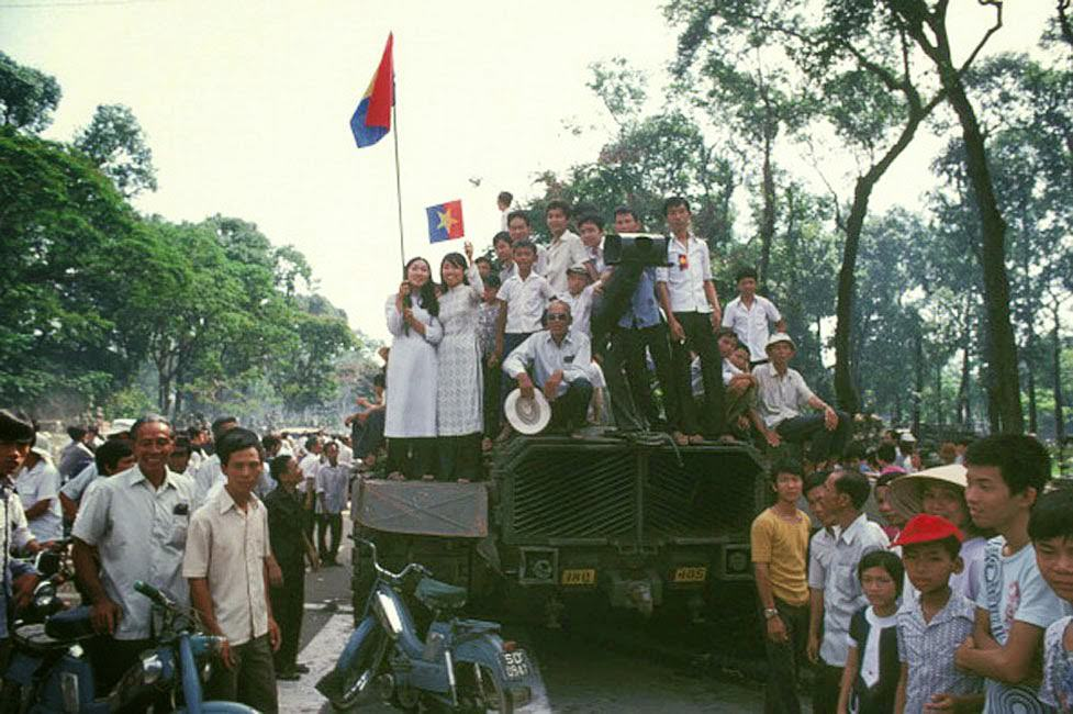 The Fall of Saigon, Vietnam in April, 1975 Spontaneous cheers at the communists's arrival.