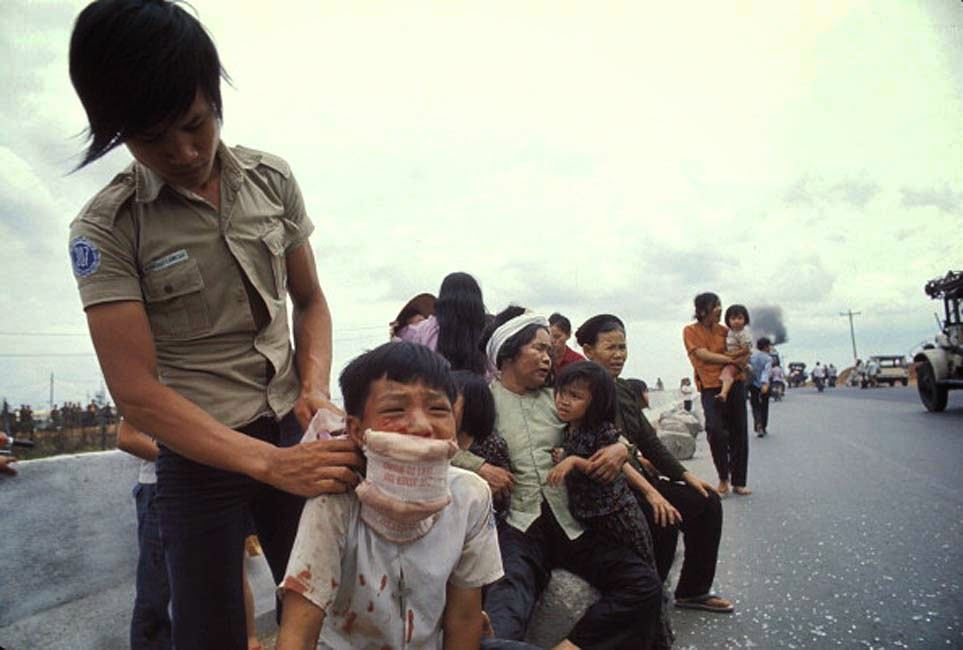 The Fall of Saigon, Vietnam in April, 1975-Population fleeing on route.