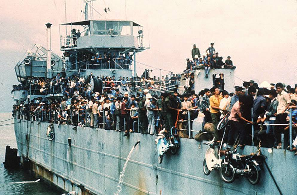 Jam-packed with more than 7,000 refugees, the South Vietnamese Navy ship HQ-504 arrives at Vung Tau port, the South Vietnam' s most popular sea resort, and now the only port city in the Government hands.