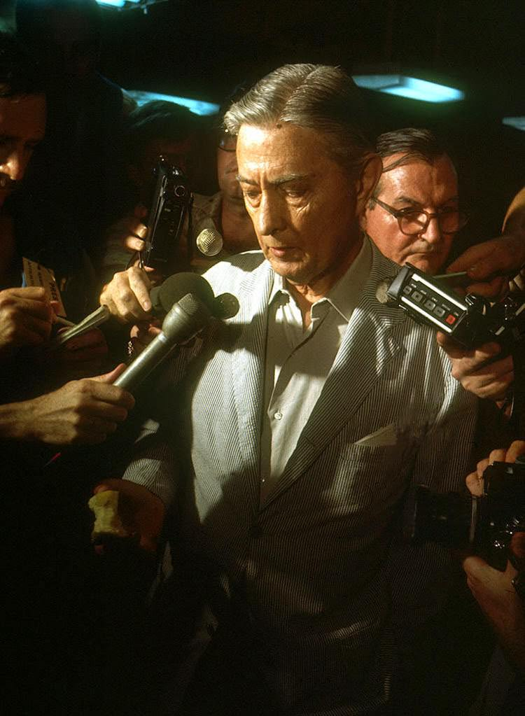 As Saigon falls to the communist rule of North Vietnamese, US Ambassador to Vietnam, Graham Martin, speaks to the press April 29, 1975 after an evacuation from South Vietnam.