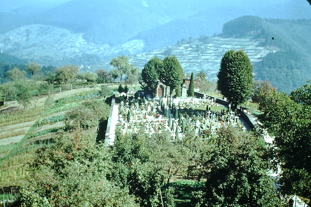 Cemetery in Black Forest, Germany, 1949.