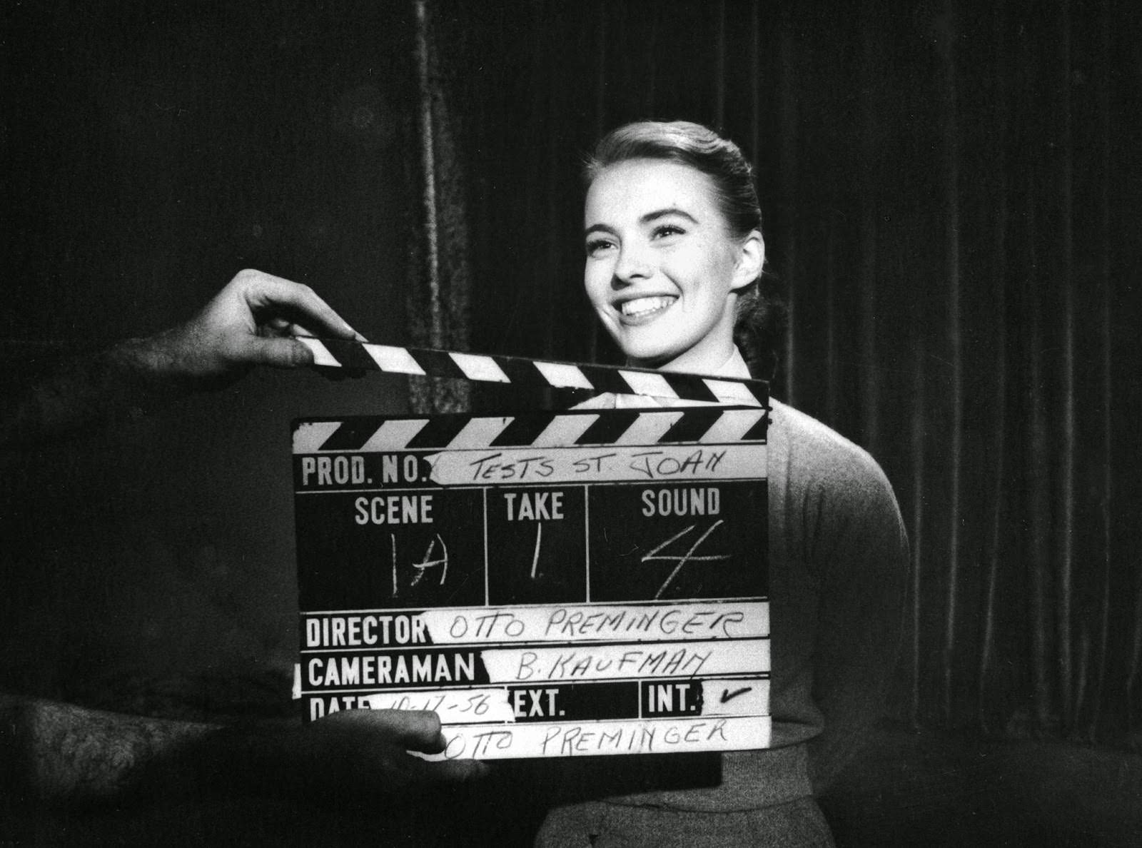 """Jean Seberg, before the famous haircut, at her screen test for """"Saint Joan,"""" 1956"""