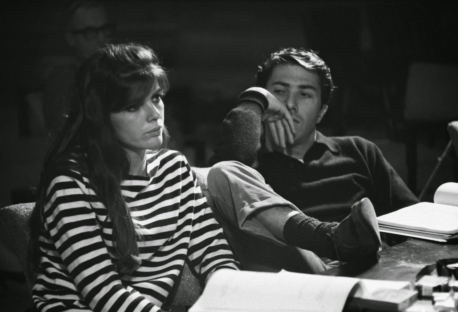"""Katharine Ross and Dustin Hoffman in rehearsal for """"The Graduate,"""" 1967"""