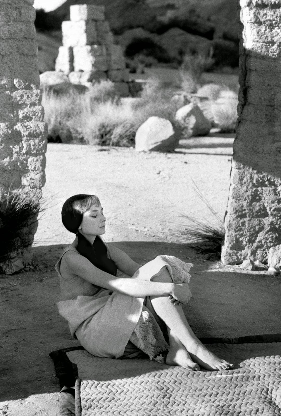 """Audrey Hepburn in a serene moment on set of MGM's """"Green Mansions,"""" 1958"""