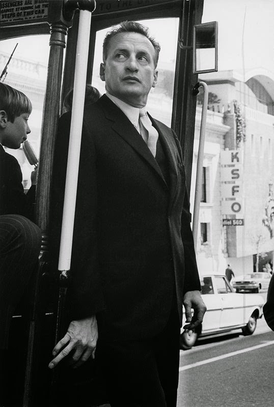 """George C. Scott on cable car in San Francisco for """"Petulia,"""" 1967"""