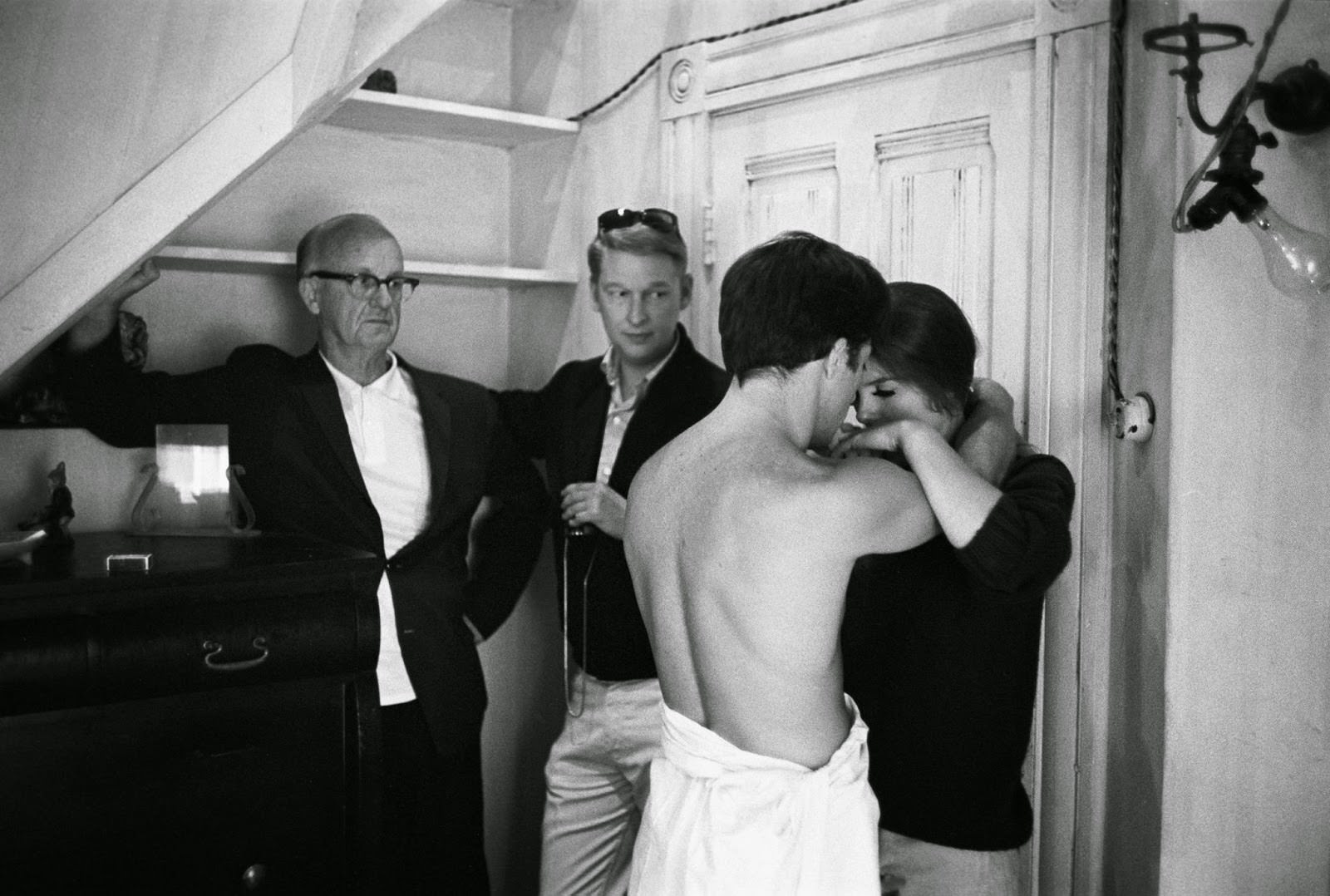 """Mike Nichols on his rehearsal set of """"The Graduate,"""" with cinematographer Robert Surtees, Dustin Hoffman and Katharine Ross, 1967"""