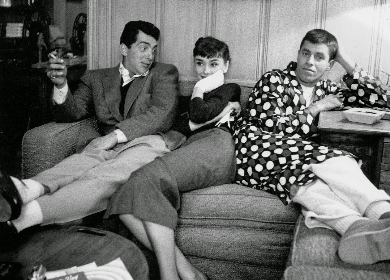 Audrey Hepburn hangs out with Dean Martin and Jerry Lewis at Paramount Studios, 1953