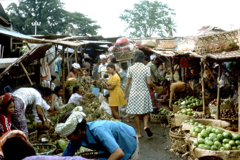 Various fruit and vegetables for sale at a Balinese street market, 1970s