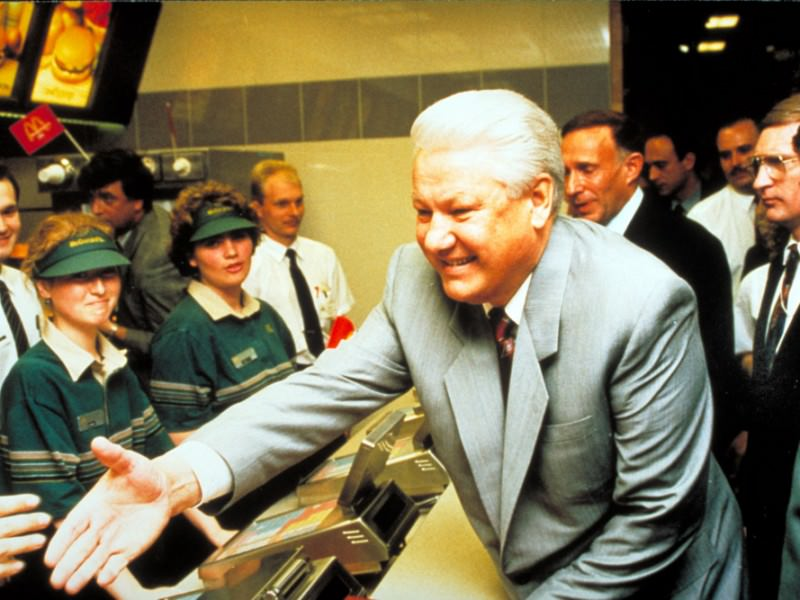 Even Yeltsin arrived at the launch on the first day.