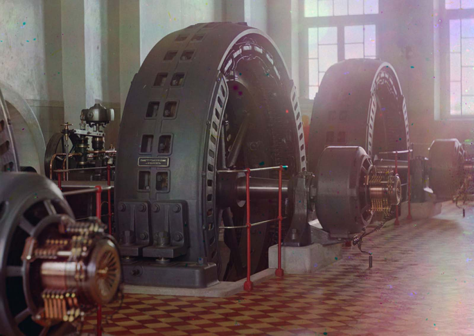 Alternators made in Budapest, Hungary, in the power generating hall of a hydroelectric station in Iolotan (Eloten), Turkmenistan, on the Murghab River, 1910.