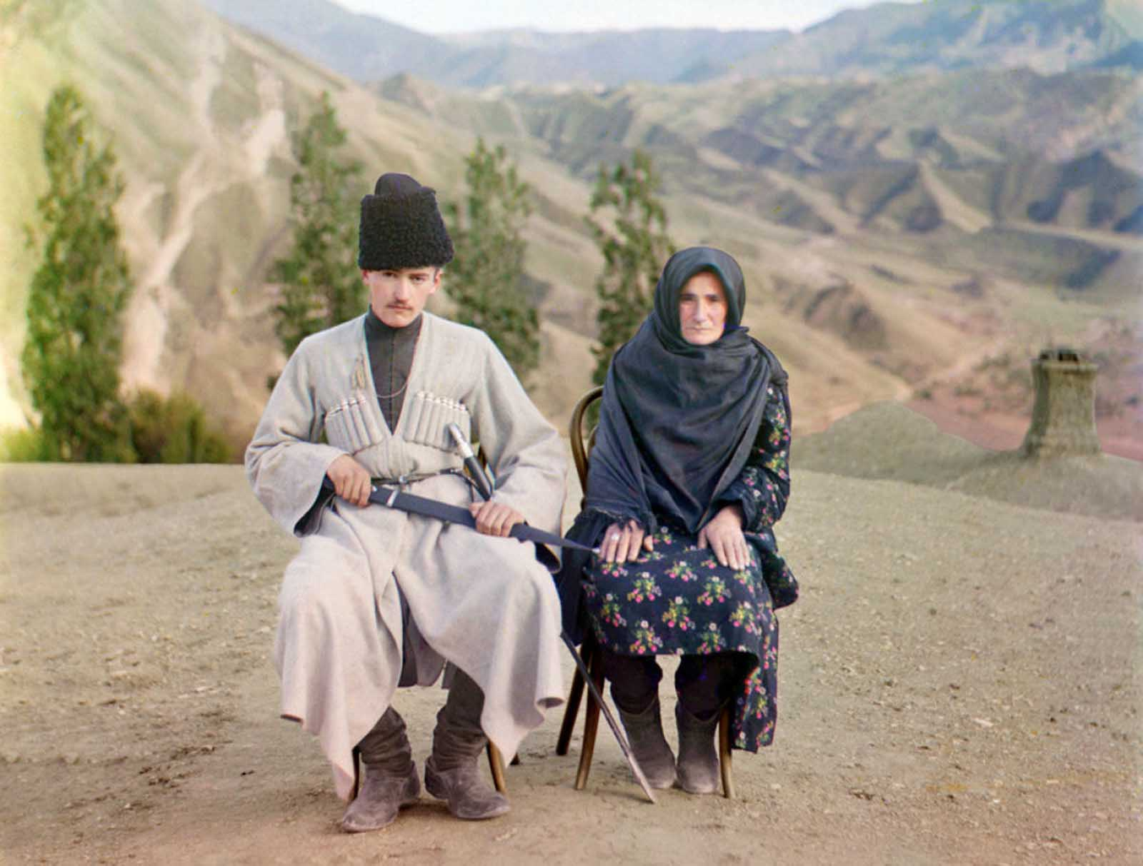 A man and woman pose in Dagestan, 1910.
