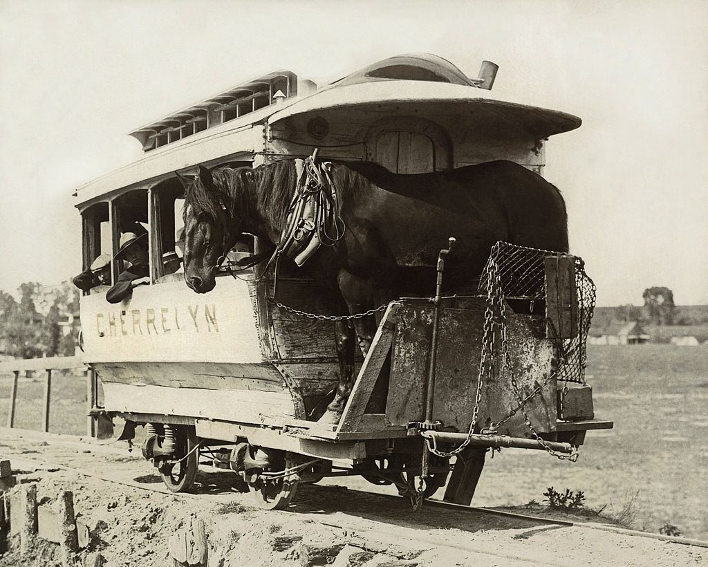 The Cherrelyn Horse Car Line is the only gravity car line in the world, Denver, 1890.