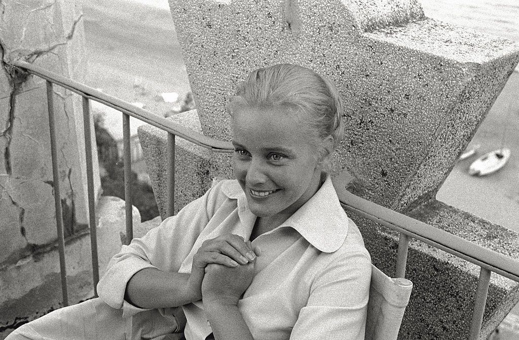 The actress Maria Schell, winner of the Volpi Cup for the Best Actress for René Clément's 'Gervaise' having a break, during the 17th Venice Intenational Film Festival.