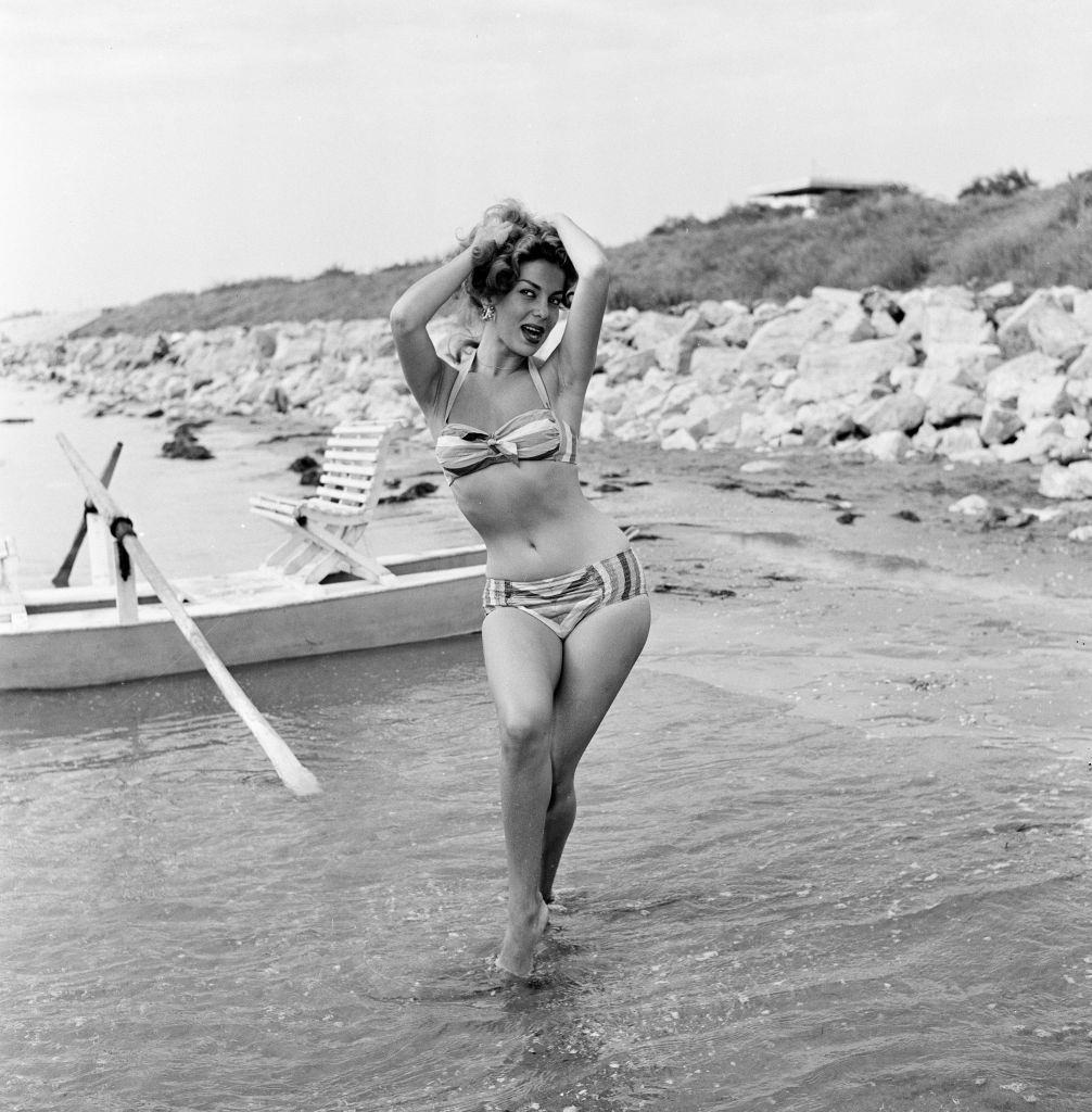 Abbe Lane, American singer and actress at 1956 Venice Film Festival.