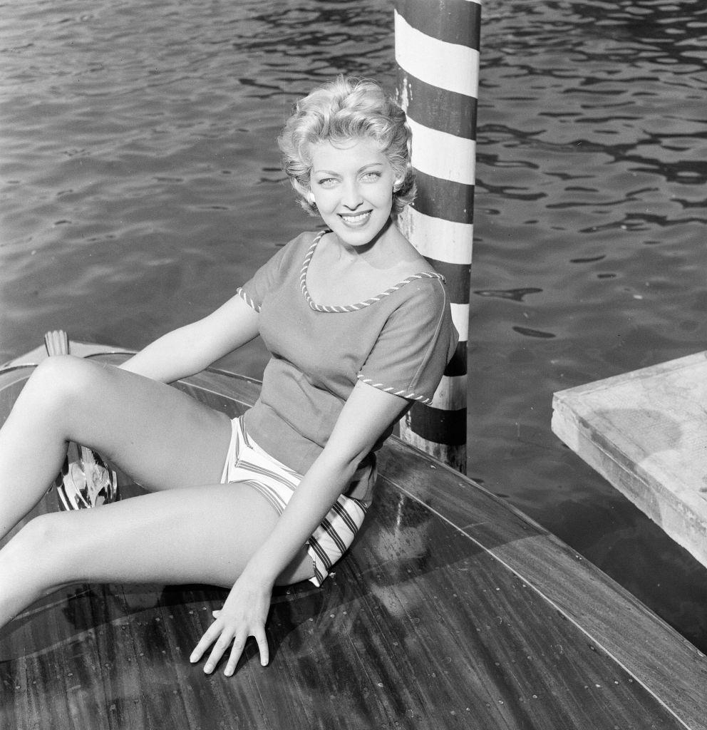 American actress and fashion model Anne Neyland at 1956 Venice Film Festival.
