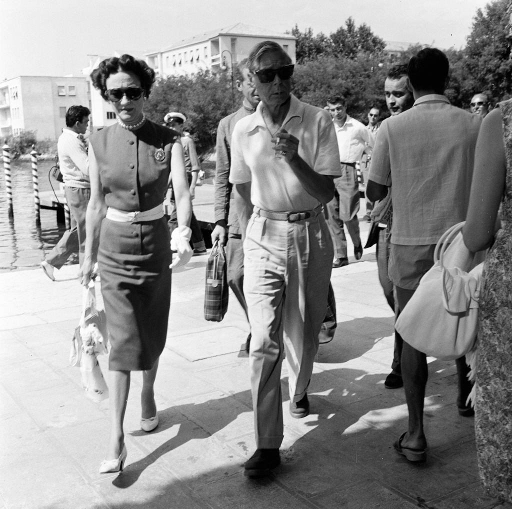 Duke and Duchess of Windsor, Prince Edward and Wallis Simpson, alight at Excelsior landing stage from Venice.