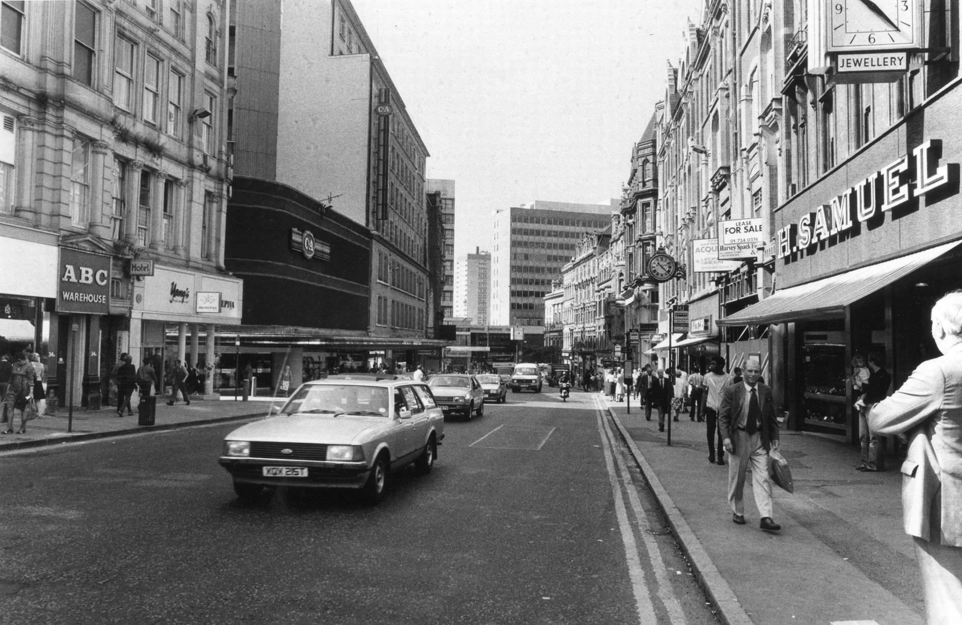 Corporation Street showing some of the shops including C&A, ABC Warehouse and H. Samuel jewellers, 22nd July 1983.