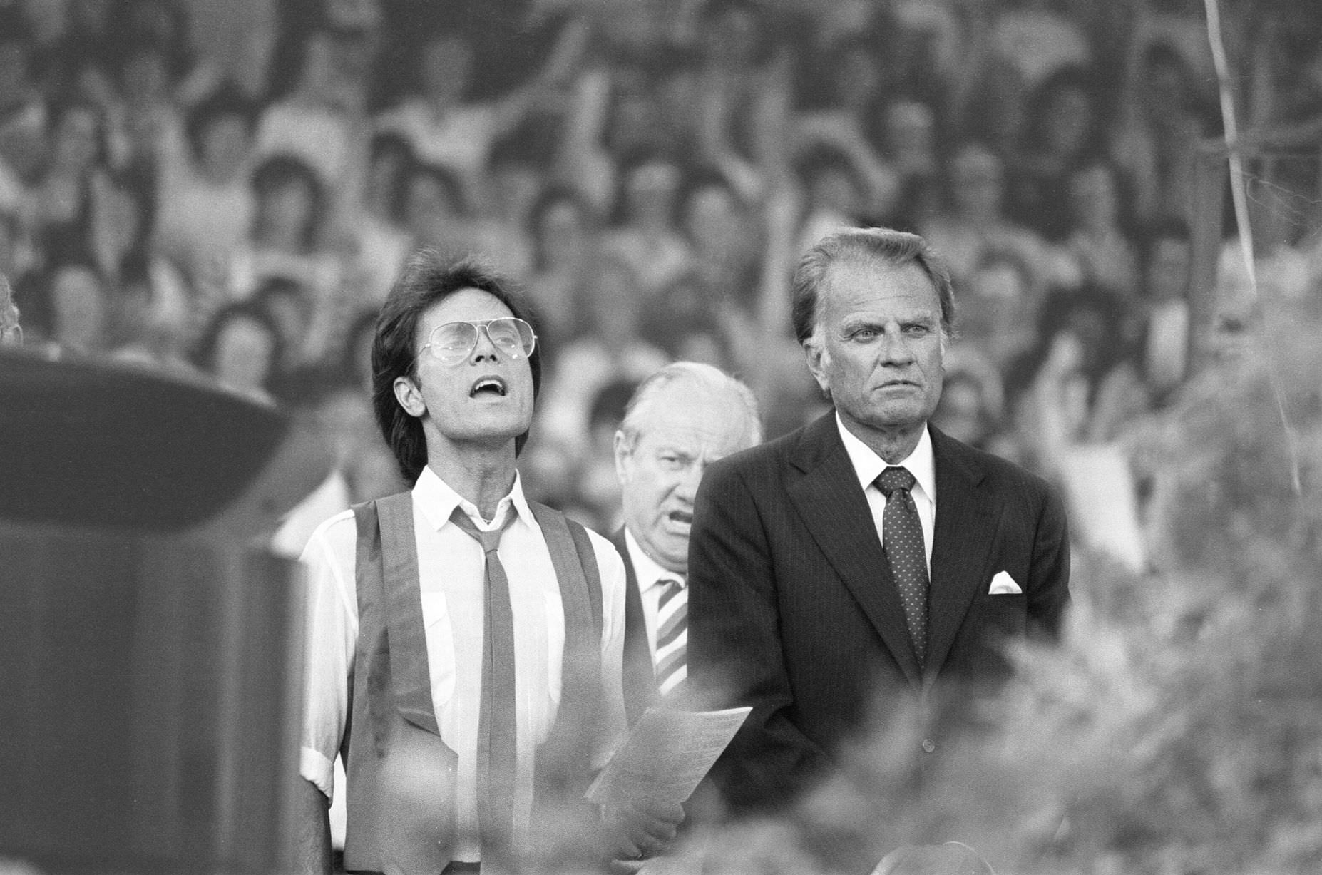 Billy Graham, American Christian evangelist, Mission England Crusade, Villa Park, Birmingham, 6th July 1984, with special guest, singer, Cliff Richard.
