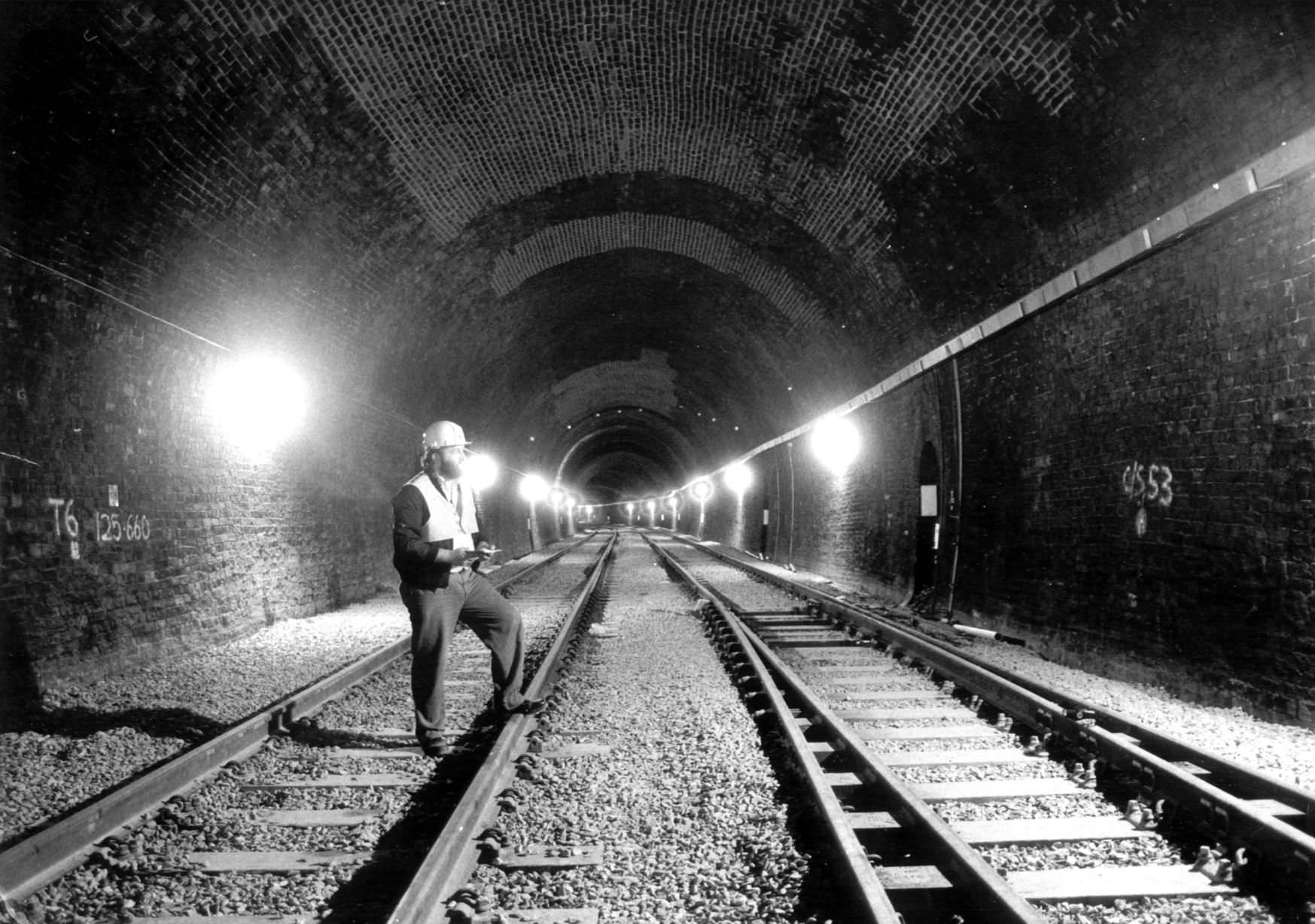 Completed trackwork inside Snow Hill Tunnel as pictured on 13th August 1987 ready for the re-opening of rail services from Birmingham to Stratford